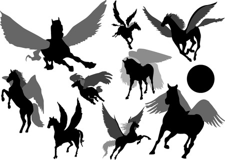 Pegasus mythology creature Silhouettes