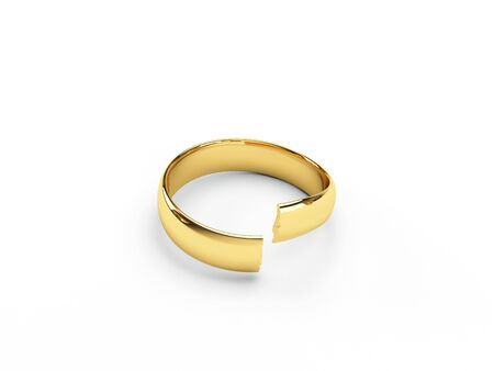 isolated broken gold wedding rings Stock Photo