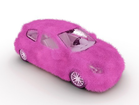 elegancy: 3d girl auto decorated with pink glamour fur. Stock Photo