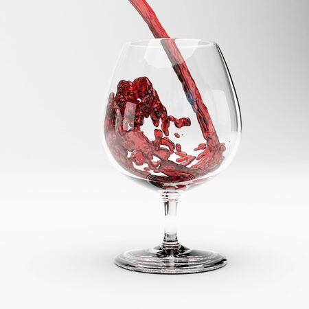 Red wine splashing out of a glass.