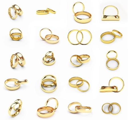 20 isolated gold wedding rings