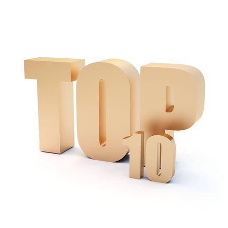 isolated 3d text TOP 10 Stock Photo