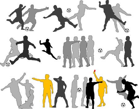 jugadores de soccer: Vector futbolistas Siluetas Vectores