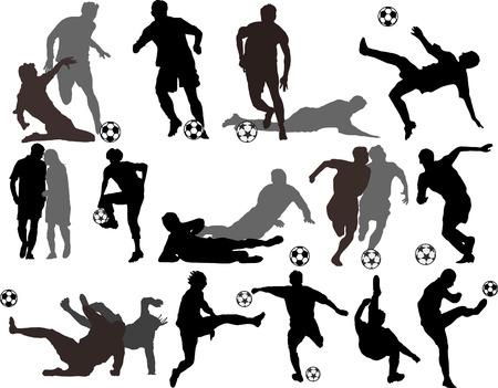 joueurs de foot: Silhouettes de joueurs de football de vecteur
