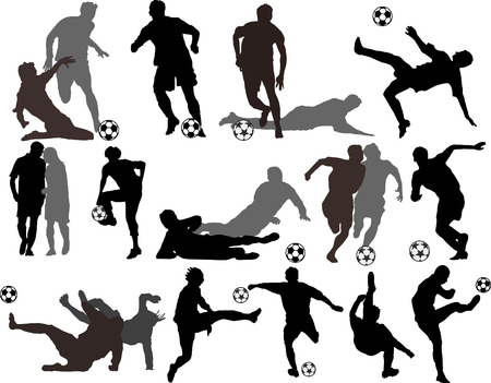 goal net: Vector Soccer Players Silhouettes