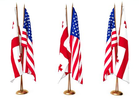flags of Georgia and the United State isolated white Stock Photo
