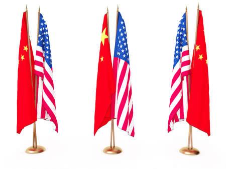 continente americano: banderas de China y el blanco de Estados Unidos, aislado