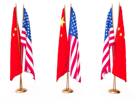 flags of China and the United State isolated white