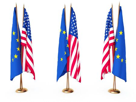 flags of EU and the United State isolated white Stock Photo