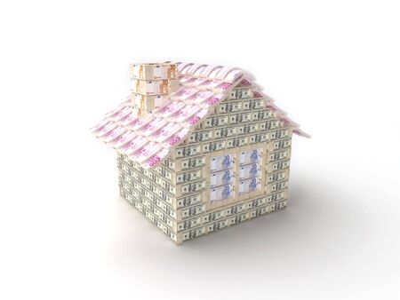 The house made of 100 dollar packs with tiles made of 500 Euro packs Stock Photo