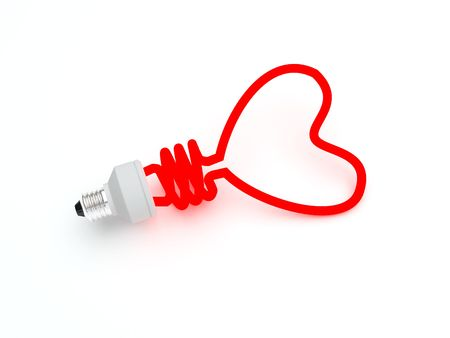 Energy saving lamp in the shape of the heart Stock Photo