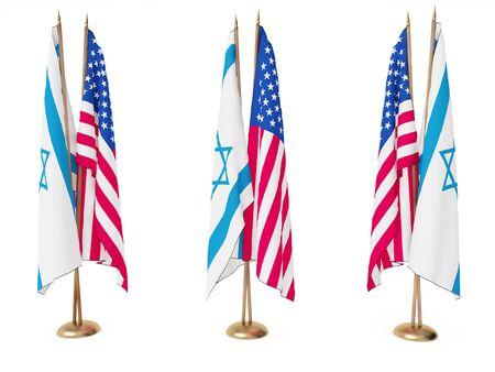 united nations: banderas de Israel y el Estado Unidos aislado en blanco Foto de archivo