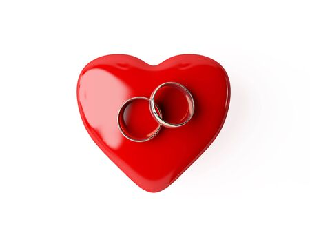 heart and wedding rings valentines day