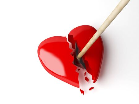 pierced: Red heart with arrow. Stock Photo