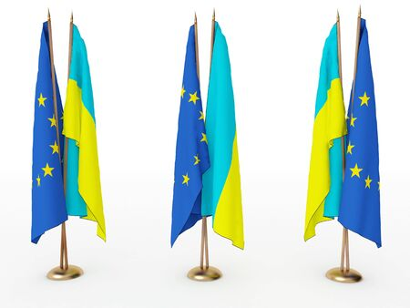 flags of Ukraine and the EU isolated white