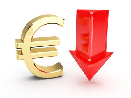 golden euro symbol and down arrows