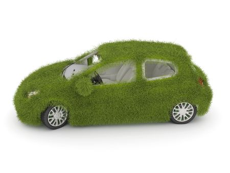 3d Hybrid auto with green grass. Ecological friendly auto decorated with green grass.