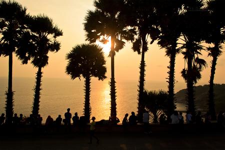 phrom: Silhouette sunset sea (Laem Phrom Thep) Viewpoint Popular travel at Phuket Thailand