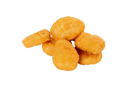 chicken nuggets on a white isolated background with no plates