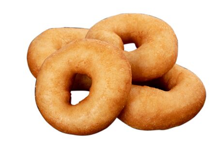 Juicy fresh donuts on white isolated background. Donuts without plates.