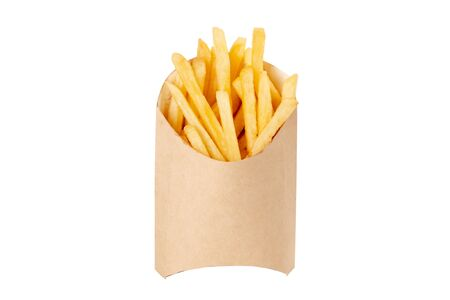 French fries in paper disposable tableware on white background isolated
