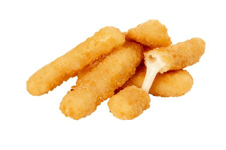 deep fried cheese sticks on white isolated background, without dishes