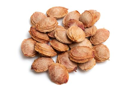 apricot pits on white isolated background Banque d'images