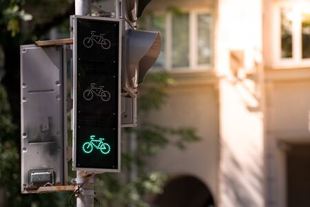 Traffic lights for cyclists. Enabled enable green input. Copy space Imagens