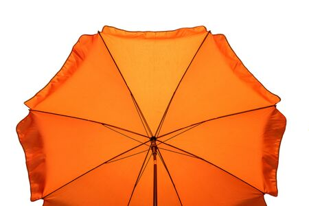 Orange beach umbrella isolated on white. Clipping path included.