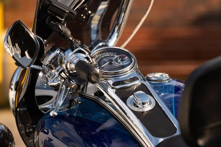 dashboard blue motorcycle close-up