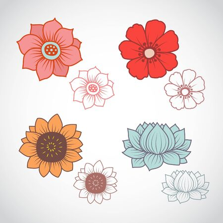 A set of four flowers in line art