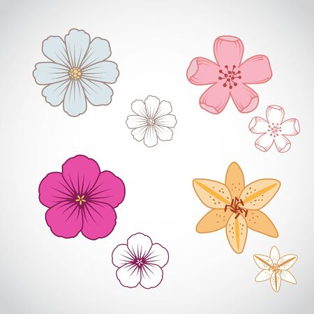 A set of four beautiful line art flowers.