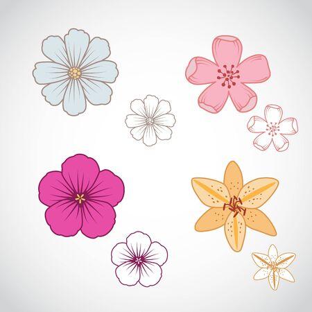 stigma: A set of four beautiful line art flowers.