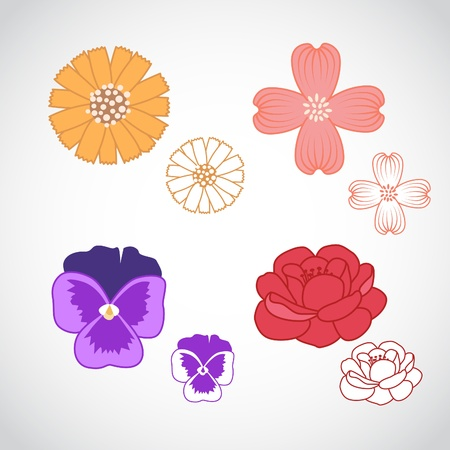 A set of four beautiful line art flowers in.