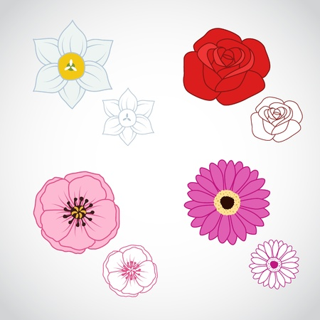 A set of four beautiful line art flowers.  矢量图像