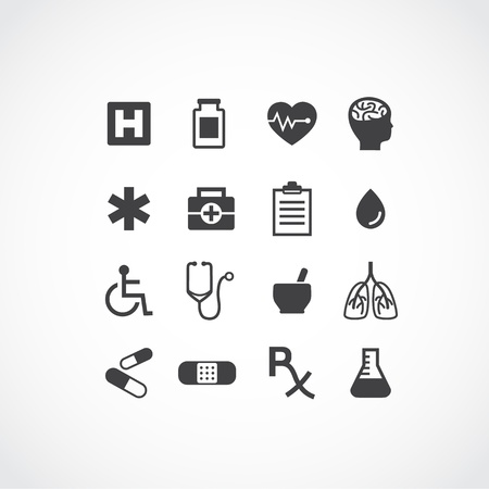 Set of 16 various medical icons. Simple clearly defined shapes in one colour. Perfect for mobile and current design. Available as vector in Illustrator EPS 10 format with organized and named layers. Also available as high quality large JPEGs.