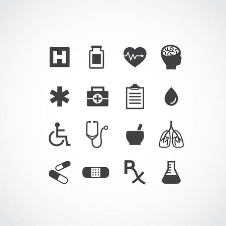 様々 な医療のアイコンが 16 を設定します。単純な明確に一つの色で図形を定義します。モバイルと現在の設計に最適です。組織的名前付きレイヤー