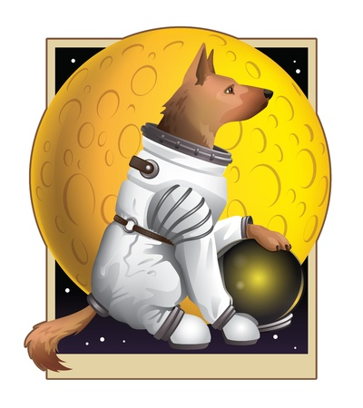 A heroic German Shepherd poised stoically in front of a yellow moon wearing his trusty spacesuit. Available as vector in Illustrator EPS 10 format with organized and named layers. Also available as high quality large JPEGs. Vector
