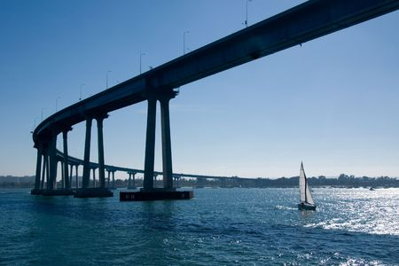 diego: The San Diego-Coronado Bridge, locally referred to as the Coronado Bridge, is a prestressed concretesteel girder bridge, crossing over San Diego Bay in the United States, linking San Diego, California with Coronado, California.
