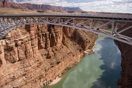These two bridges, one historic and one new, represent one of only seven land crossings of the Colorado River for 750 miles (1207 km).