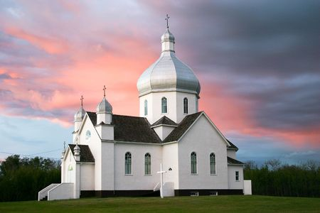 ukranian: A Ukranian Catholic Church found south of Vegreville in Central Alberta, Canada. Stock Photo