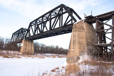 The old train bridge south of Battleford, Saskatchewan Stock Photo - 4894133