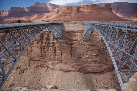 crossings: These two bridges, one historic and one new, represent one of only seven land crossings of the Colorado River for 750 miles (1207 km).