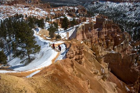 The winter path to the bottom of Bryce Canyon photo