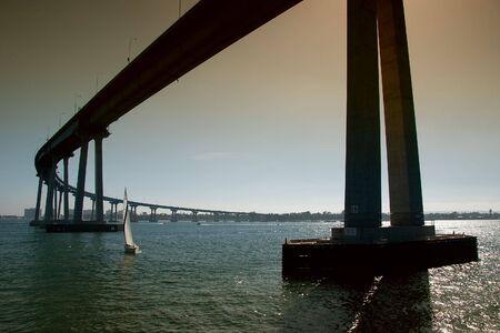 The San Diego-Coronado Bridge, locally referred to as the Coronado Bridge, is a prestressed concretesteel girder bridge, crossing over San Diego Bay in the United States, linking San Diego, California with Coronado, California. photo