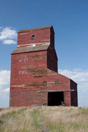 ag: A historic grain elevator in Feudal, Saskatchewan on the Canadian prairies.