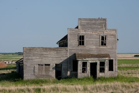 An old abandoned general store found in the ghost town of Bents the Canadian Prairies. photo