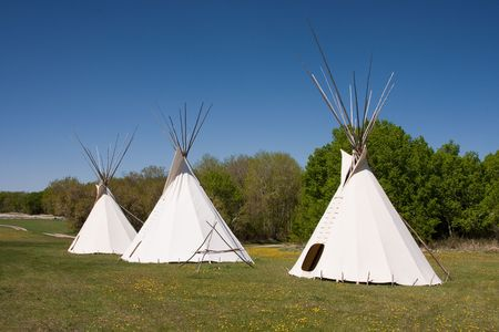 canada aboriginal: A small group of teepees in a meadow surrounded by forest. Teepees were traditional housing for Native Americans in Great Plains and other Western states. Stock Photo