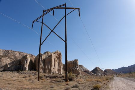 Power transmission pole and line on the Cottownwood Road in the Grand Staircase-Escalante National Monument photo
