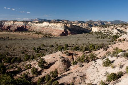 Cottonwood Road in Grand Staircase-Escalante National Monument is a dramatic, multi-hued landscape that is rich in natural and human history.  photo